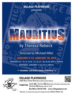 """Village Players"" ""Bloor west"" theatre theater ""Toronto theatre"" ""Mauritius"" ""Theresa Rebeck"""