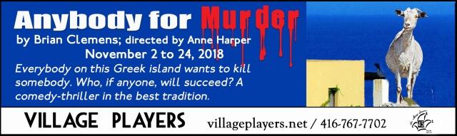 """village playhouse toronto"" ""village playhouse"" ""village players"" ""bloor west"" theatre theater Runnymede ""Anybody for Murder"" ""Brian Clemons"" ""Anne Harper"""