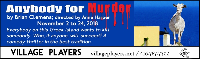 """village playhouse toronto"" ""village playhouse"" ""village players"" ""bloor west"" theatre theater Runnymede ""Anybody for Murder"" ""Brian Clemons"" ""Anne Harper"""