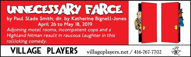 """village playhouse toronto"" ""village playhouse"" ""village players"" ""bloor west"" theatre theater Runnymede ""Unnecessary Farce"" ""Paul Slade Smith"" ""Katherine Bignell-Jones"""