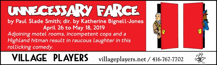 """village playhouse toronto"" ""village playhouse"" ""village players"" ""bloor west"" theatre theater Runnymede ""Unnecessary Farce"" ""Paul Slade Smith"" ""Katherine Bignell-Jones"""