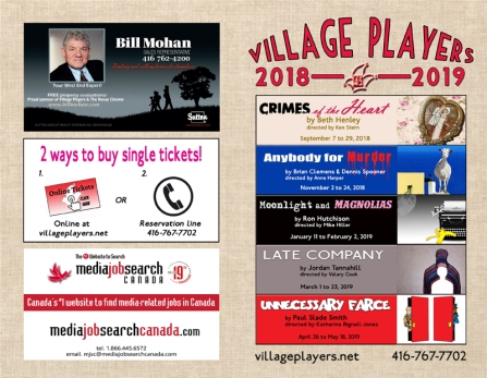 """village playhouse toronto"" ""village playhouse"" ""village players"" ""bloor west"" theatre theater Runnymede program programme 2018-19"