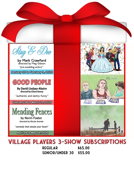 """""""village playhouse toronto"""" """"village playhouse"""" """"village players"""" """"bloor west"""" theatre theater Runnymede """"Stag And Doe"""" """"Mark Crawford"""" """"Meg Gibson"""" """"Good People"""" """"David Lindsay-Abaire"""" """"Cliona Kenny"""" """"Mending Fences"""" """"Norm Foster"""" """"Nicole Arends"""" subscription"""