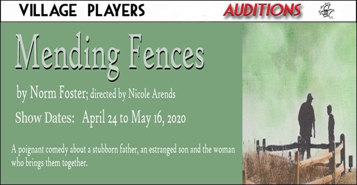 """village playhouse toronto"" ""village playhouse"" ""village players"" ""bloor west"" theatre theater Runnymede ""Mending Fences"" ""Norm Foster"" ""Nicole Arends"""